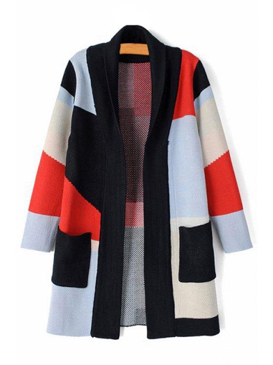 fashion Color Block Plaid Long Sleeve Cardigan - COLORMIX S