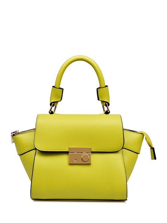 shops PU Leather Solis Color Tote Bag - LIGHT GREEN