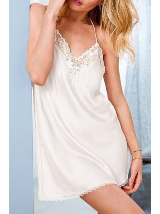 buy Solid Color Cami Babydoll - WHITE ONE SIZE(FIT SIZE XS TO M)