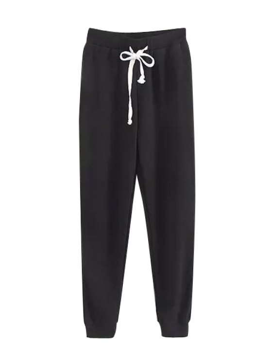 chic Tie-Up Solid Color Pants - BLACK S