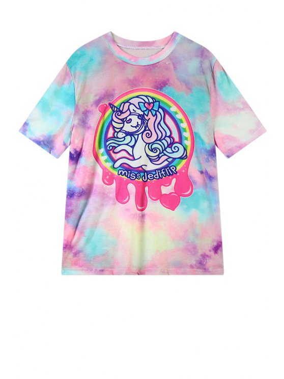 latest Cartoon Horse Print Short Sleeve T-Shirt - PINK ONE SIZE(FIT SIZE XS TO M)