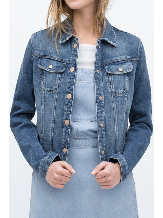 ladies Bleach Wash Pocket Design Denim Coat - BLUE S