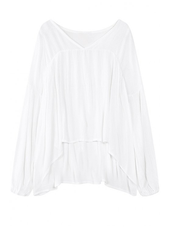 ladies White V Neck Long Sleeve Blouse - WHITE ONE SIZE(FIT SIZE XS TO M)