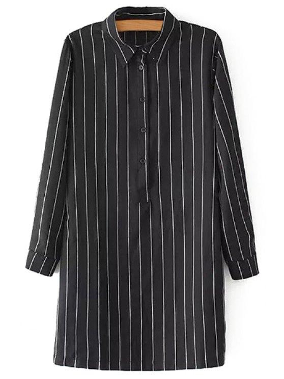 fancy Shirt Collar Vertical Stripes Button Shirt - BLACK S