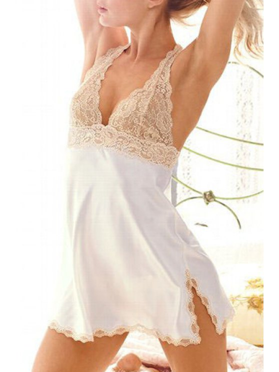 shop Plunging Neck See-Through Lace Splicing Lingeries - WHITE ONE SIZE(FIT SIZE XS TO M)