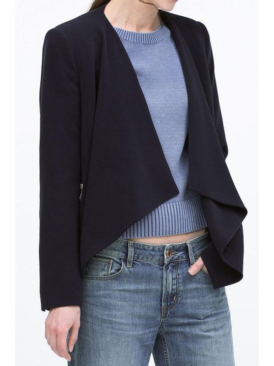 fashion Solid Color Irregular Hem Blazer - CADETBLUE S