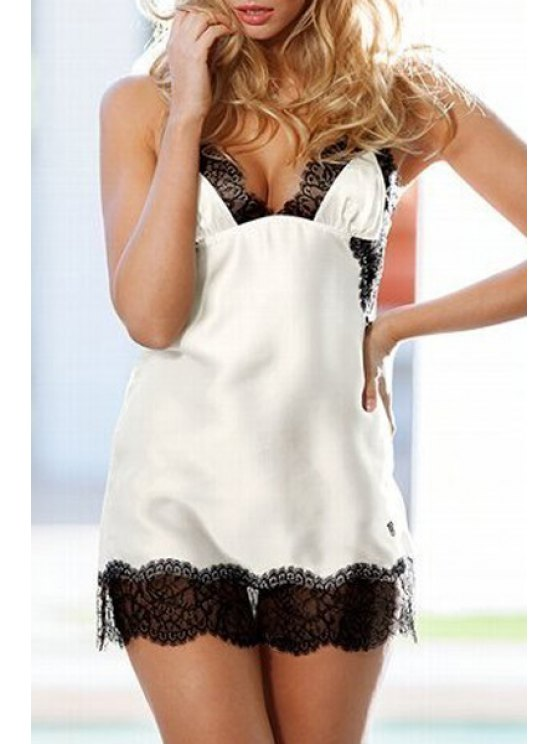 sale Spaghetti Strap Black Lace Splicing Lingeries - WHITE ONE SIZE(FIT SIZE XS TO M)