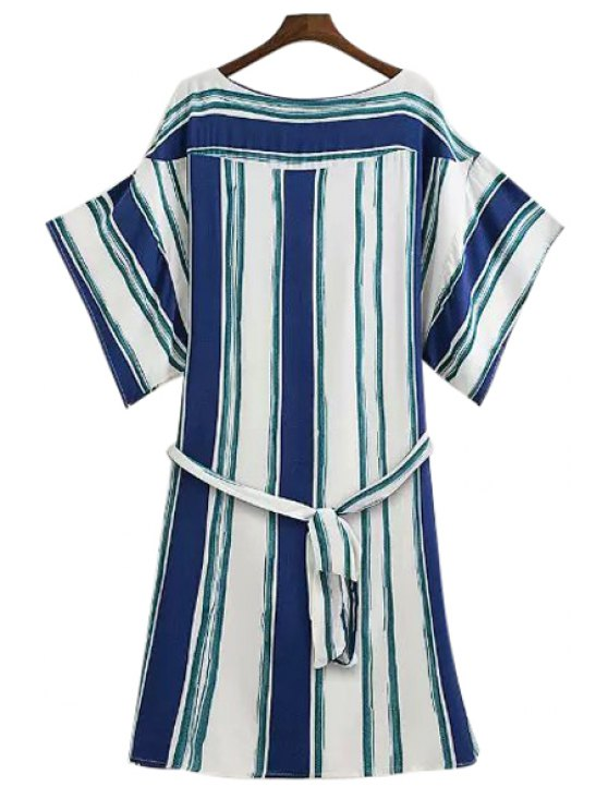 online Wide Sleeve Striped Loose-Fitting Dress - GREEN S