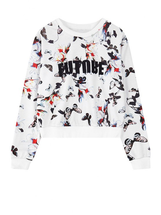 affordable Butterfly Print Long Sleeve Sweatshirt - WHITE ONE SIZE(FIT SIZE XS TO M)