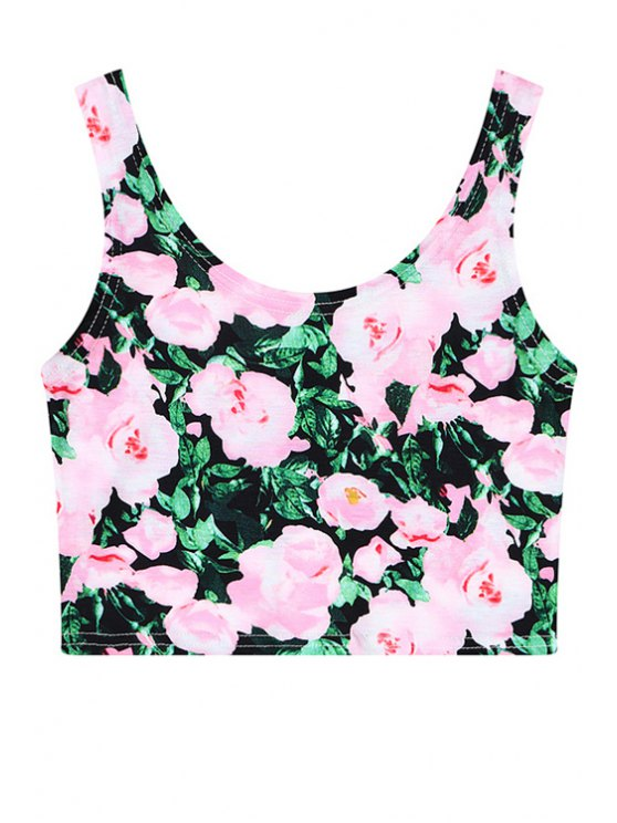 hot Full Floral Sleeveless Crop Top - PINK ONE SIZE(FIT SIZE XS TO M)