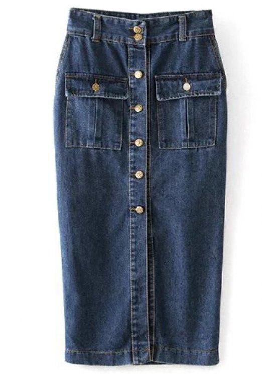womens Single-Breasted Long Denim Skirt - BLUE S