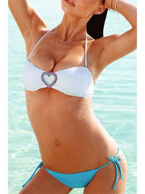 unique Halter Neck Heart Pattern Bikini Set - BLUE AND WHITE XS