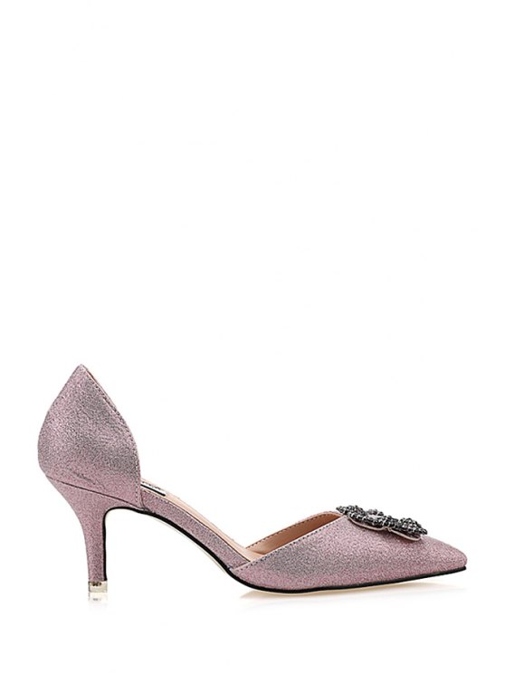 hot Rhinestones Bling Bling Pointed Toe Pumps - PINK 35