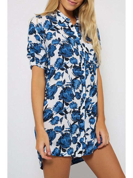 shop Short Sleeve Floral Print Long Shirt - BLUE S