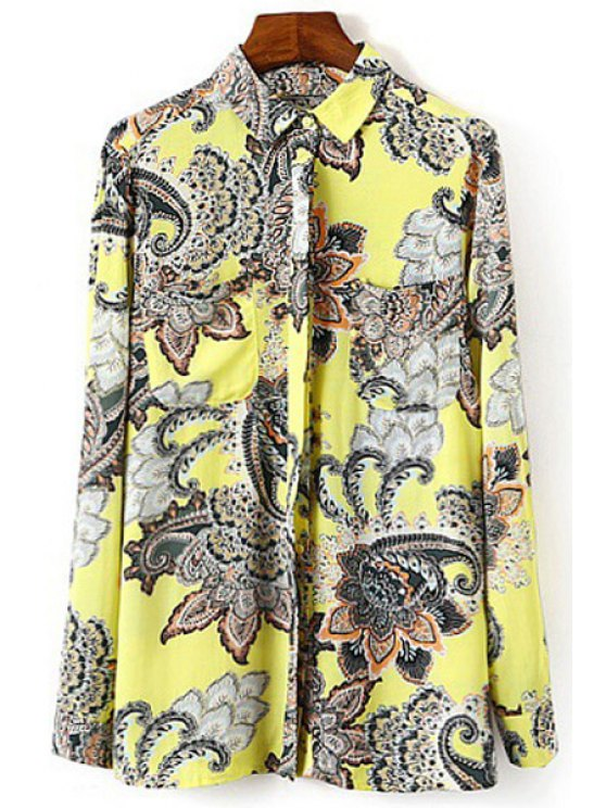 outfits Polo Collar Color Block Floral Print Shirt - YELLOW S