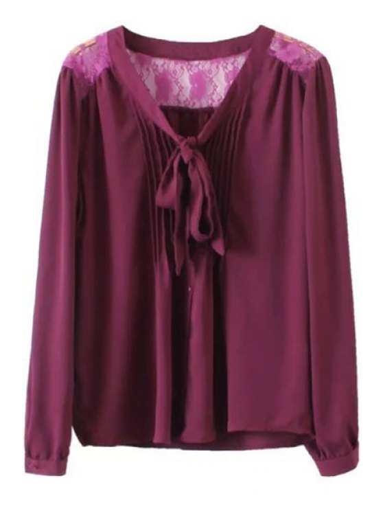 V neck back lace see through shirt wine red blouses l zaful for Shirts with see through backs