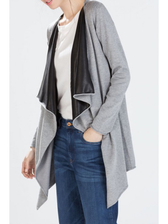 fancy Long Sleeve Faux Leather Splicing Trench Coat - GRAY S