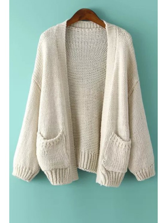 shops Long Sleeve Solid Color Collarless Cardigan - OFF-WHITE ONE SIZE(FIT SIZE XS TO M)