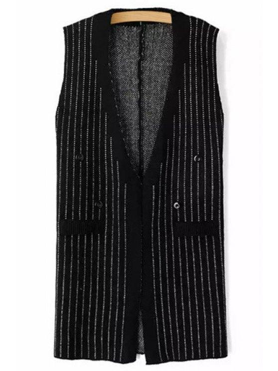 chic White Stripe Sleeveless Cardigan - GRAY S