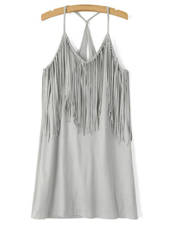 ladies Spaghetti Strap Fringe Splicing Faux Suede Dress - GRAY S