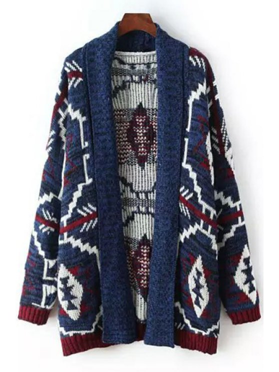 affordable Turn-Down Collar Argyle Pattern Stripe Cardigan - BLUE S