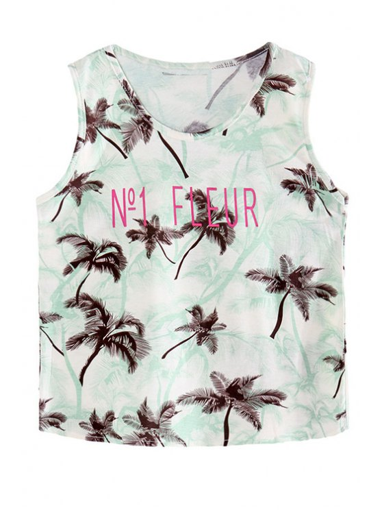 chic Coconut Palm Print Scoop Collar Tank Top - GREEN ONE SIZE(FIT SIZE XS TO M)