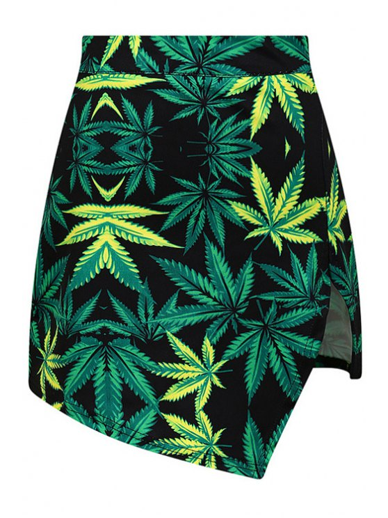 ladies Green Leaf Print High Waisted Skirt - GREEN ONE SIZE(FIT SIZE XS TO M)