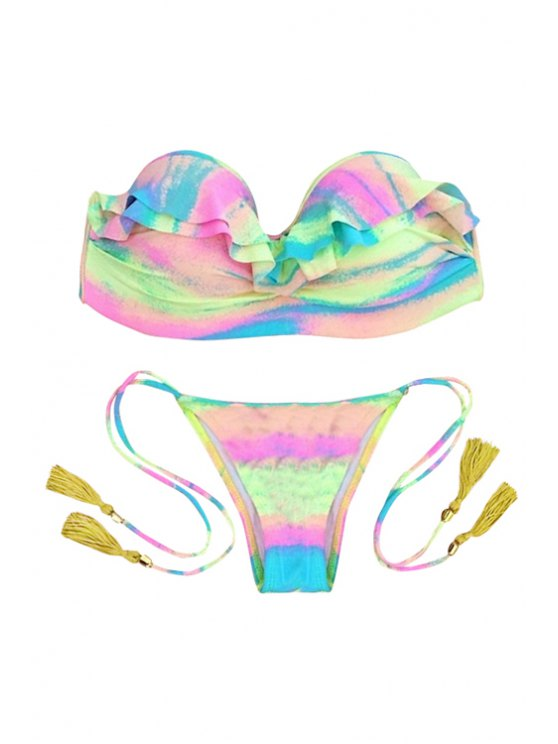 unique Strapless Colorful Flouncing Bikini Set - COLORMIX S