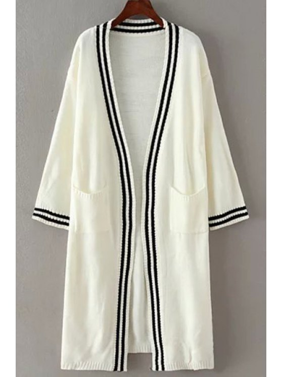 women Stripe Pocket Long Sleeve Cardigan - WHITE ONE SIZE(FIT SIZE XS TO M)