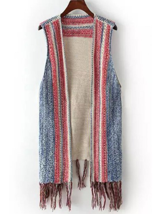 new Color Block Fringe Splicing Sleeveless Cardigan - GRAY ONE SIZE(FIT SIZE XS TO M)
