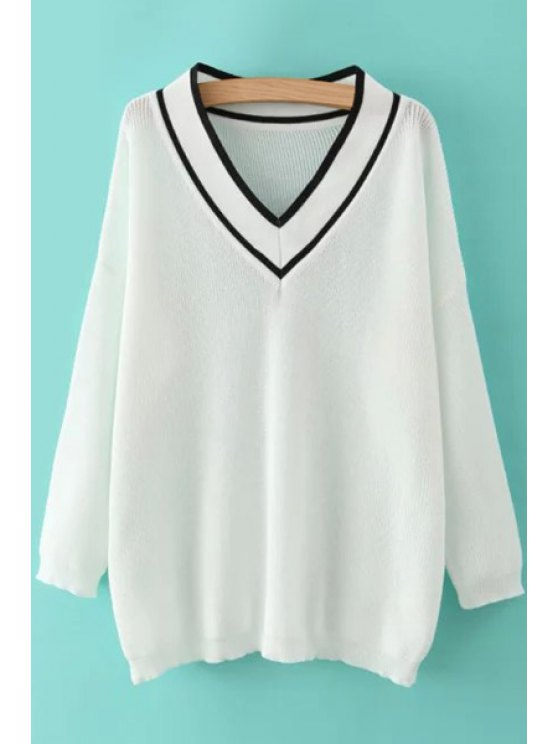 shop Black White Stripe Long Sleeve Sweater - WHITE ONE SIZE(FIT SIZE XS TO M)