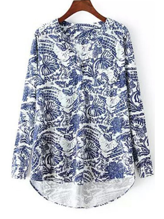 affordable Blue Floral Print Long Sleeve Shirt - BLUE AND WHITE S