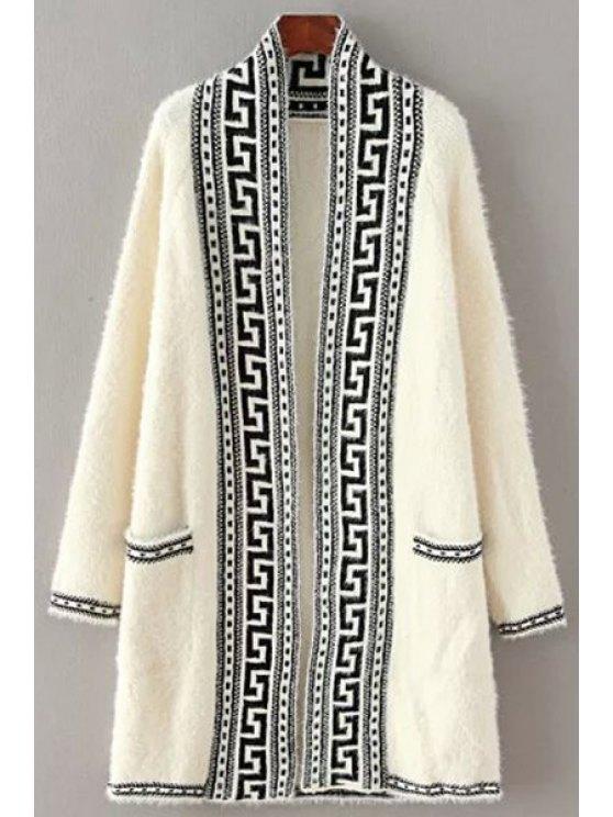 fashion Black Stripe Pattern Long Sleeve Cardigan - WHITE ONE SIZE(FIT SIZE XS TO M)