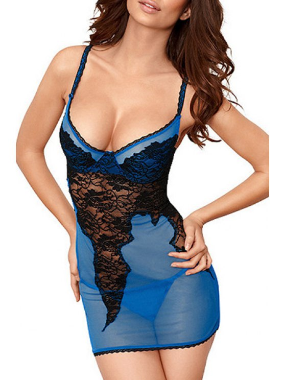 shop See-Through Lace Spliced Cami Babydoll - BLUE ONE SIZE(FIT SIZE XS TO M)