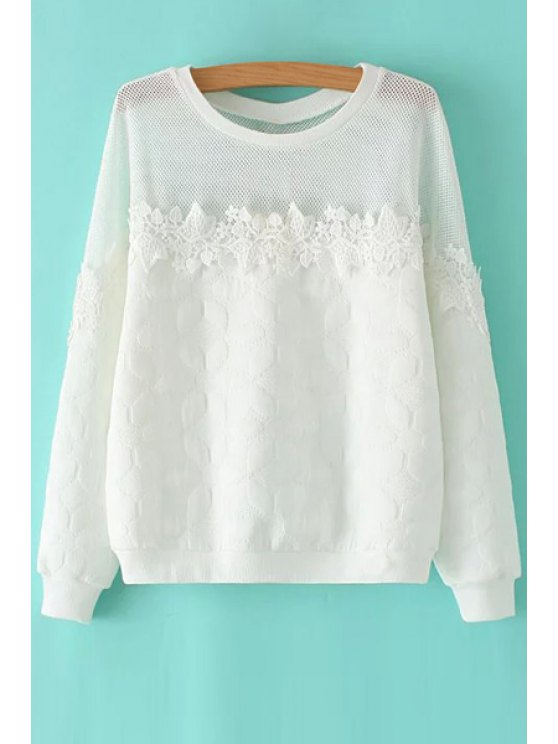 latest See-Through Lace Splicing Long Sleeve Sweatshirt - WHITE S