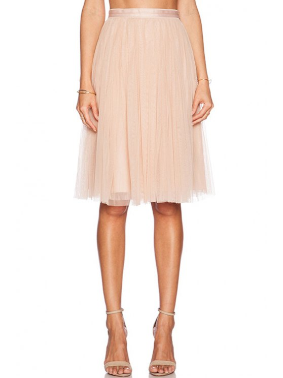 outfit High-Waisted Solid Color Voile Skirt - PINK S