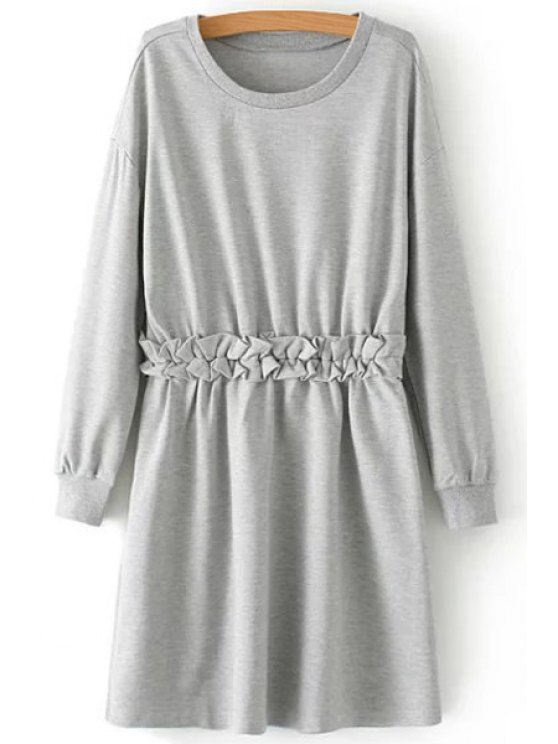 fashion Waist Flounce Splicing Long Sleeve Dress - GRAY M