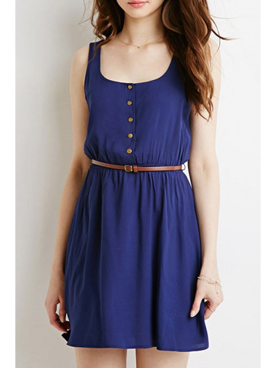 new Blue U Neck Sleeveless A Line Dress - BLUE S