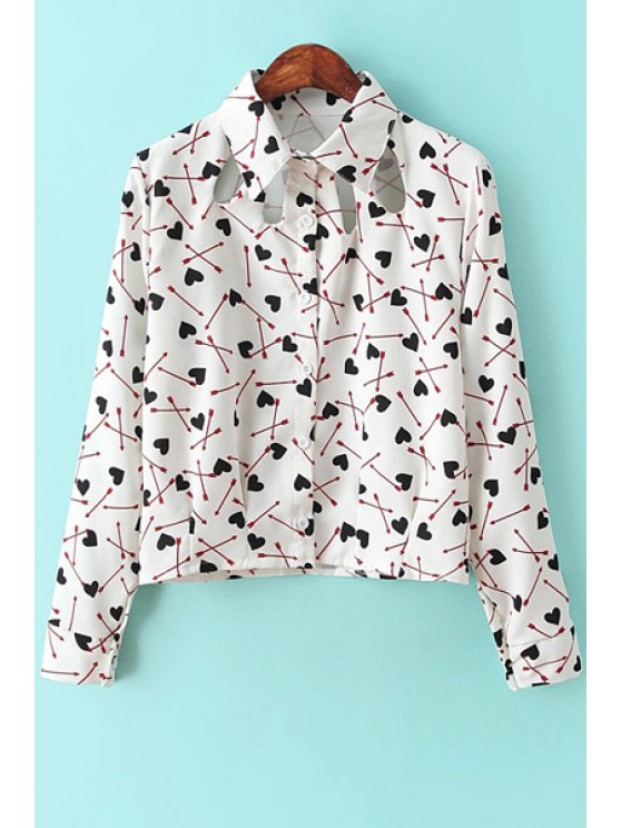 women Heart Arrow Print Long Sleeve Shirt - WHITE ONE SIZE(FIT SIZE XS TO M)