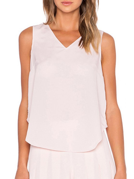 latest Layered Cross-Over Pink Tank Top - LIGHT PINK S