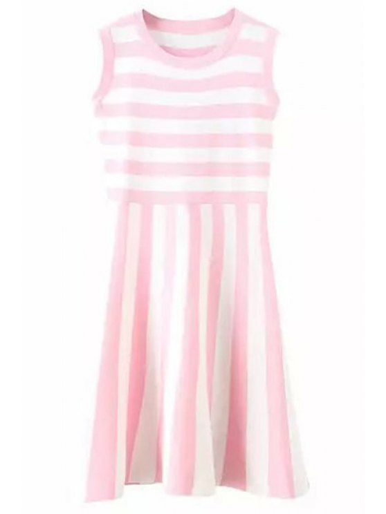 women's Stripe Sleeveless Knitted Dress - PINK ONE SIZE(FIT SIZE XS TO M)