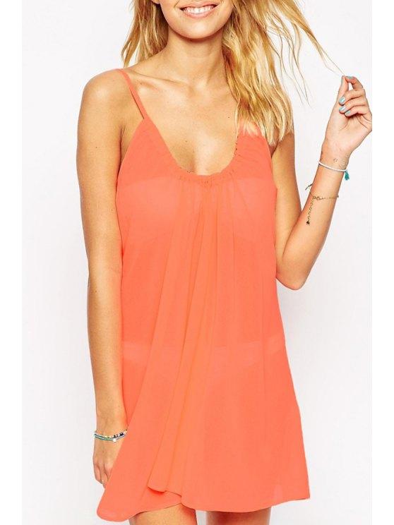 trendy Spaghetti Strap Backless Chiffon Dress - ORANGE RED S