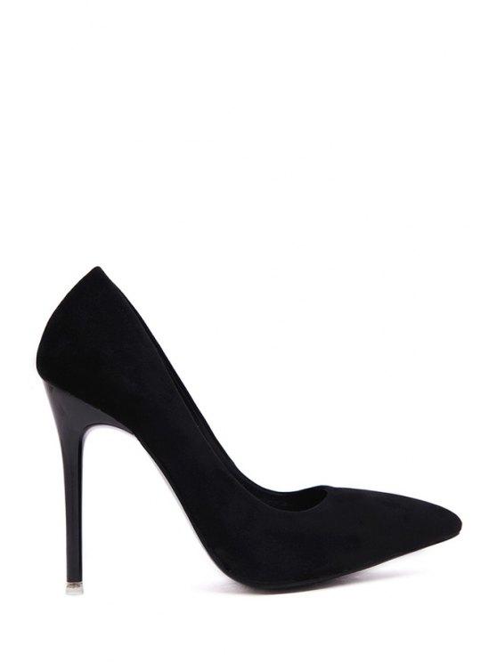 women Solid Color Suede Pointed Toe Pumps - BLACK 34