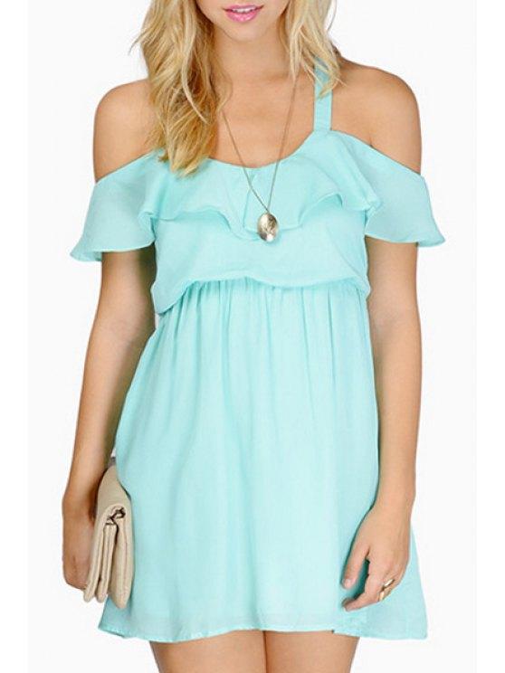 womens Off-The-Shoulder Flouncing Crisscross Chiffon Dress - BLUE S