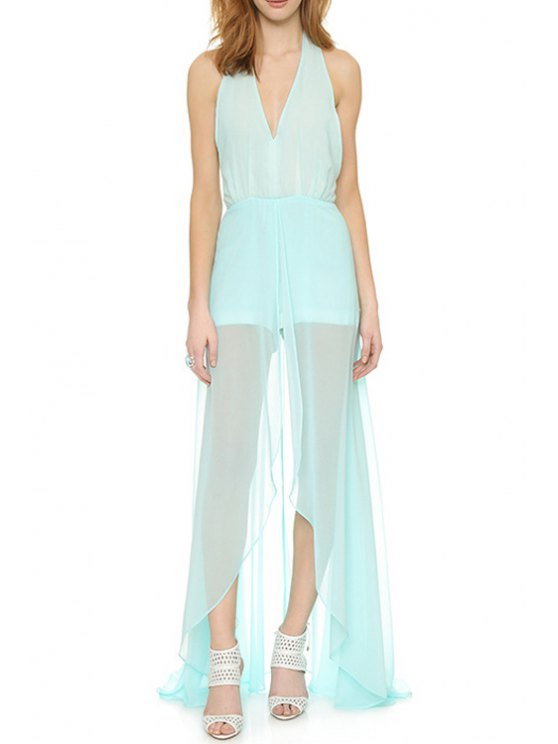 trendy Solid Color See-Through Halter Maxi Dress - MINT GREEN S