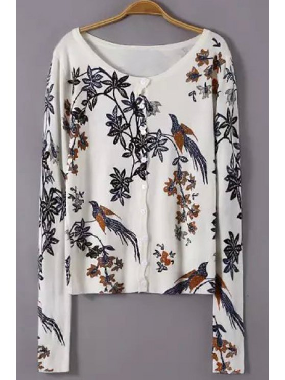 ladies Scoop Neck Floral Bird Pattern Cardigan - WHITE M