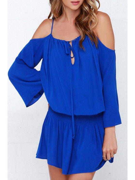 fashion Off-The-Shoulder Blue Elastic Waist Dress - BLUE S