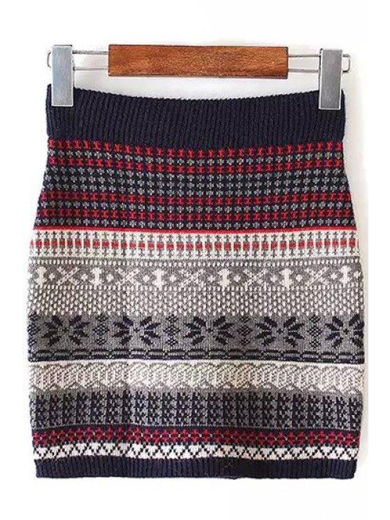 online Color Block Stripe Skirt - COLORMIX S