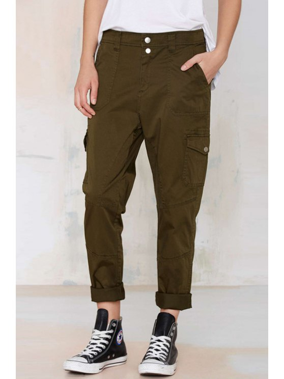 latest Army Green Straight Leg Pants - ARMY GREEN S