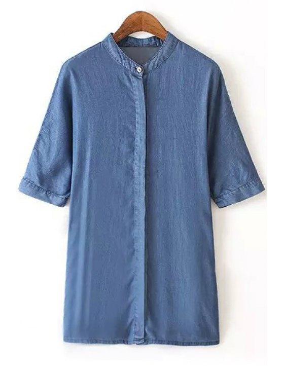 lady Stand-Up Collar Bleach Wash Denim Shirt - BLUE S